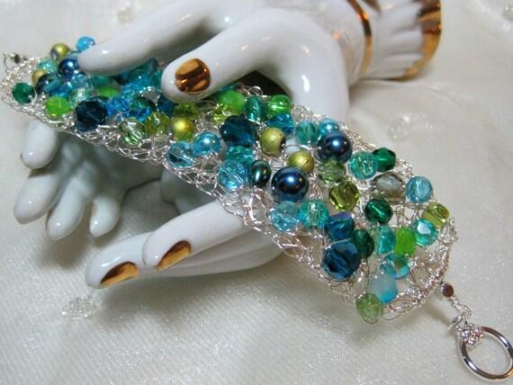 Lime and Teal Bead Bracelet, beaded wire crochet jewelry, handmade beadwork bracelet