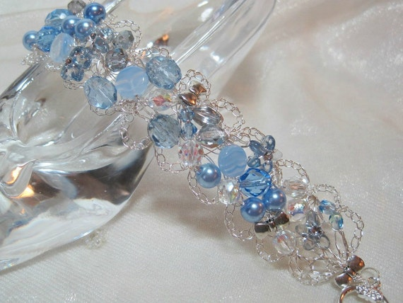 Light Blue Beaded Bracelet, handmade crochet wire beadwork jewelry, blue bead bracelet