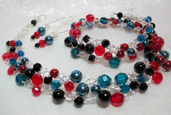 Red, Black and Teal Crocheted Wire Beaded Necklace Set, handmade beadwork crochet jewelry, teal bead jewelry