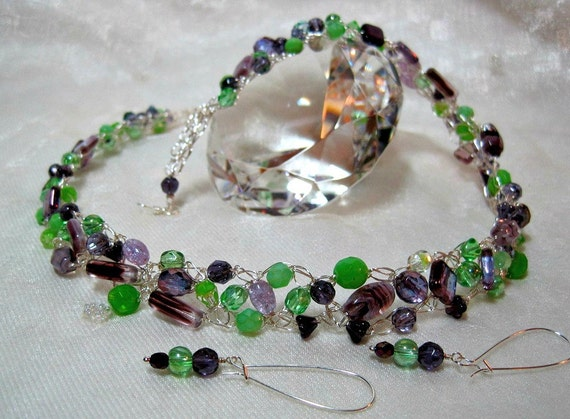 Purple and Green Beaded Necklace Set, handmade crocheted wire jewelry, beadwork necklace