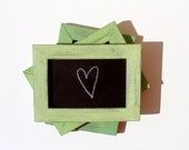 Set of 3 Shabby Lime  Framed Chalkboards with Box of Chalks - Table Signs - 3 Shades of Lime