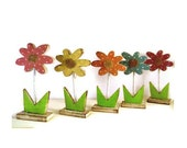 """Primitive rustic handpainted stand """" Spring Flower """" - usable from 2 sides"""
