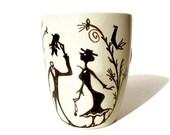 """Handpainted Coffeecup """" Gentleman """""""