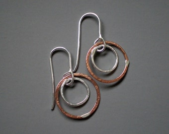 "Mixed Metal earrings ""Eclipse""  hoops"
