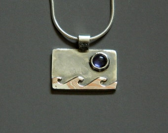 """Mixed metal jewelry- silver, mokume and iolite pendant """"Lunar Waves"""""""