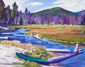 Small Print Oregon Landscape Kayak at East Davis Lake CG  Signed Matted 5x7