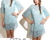 60s Pale Blue Lace beaded CUT OUT bell sleeve MINI shift dress tunic top