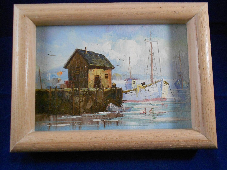 A Simpson Oil Painting Harbor Scene