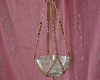 """Hand Crafted Macrame Plant Hanger- Brown 35"""""""