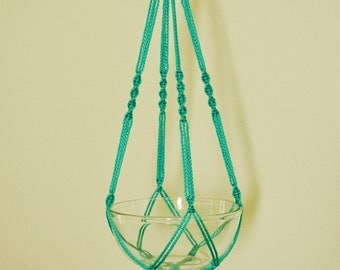 "Hand Crafted Macrame Plant Hanger 35""- Turquoise"