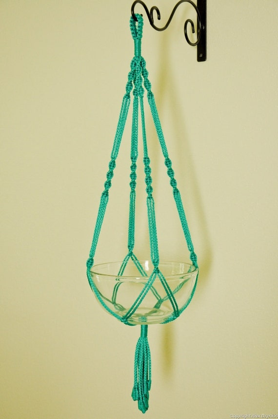"""Hand Crafted Macrame Plant Hanger 35""""- Turquoise"""