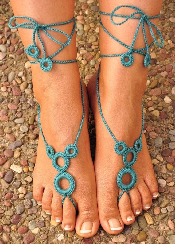 Crochet Barefoot Sandals- Great Accessory for Summer- Turquoise