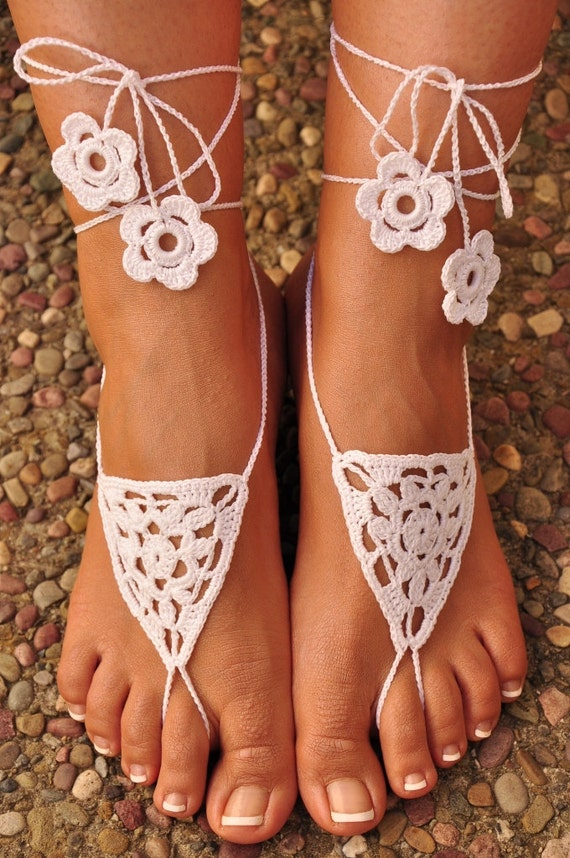 Crochet Barefoot Sandals- Great Accessory for Beach, Wedding or Summer (Available in all colors)