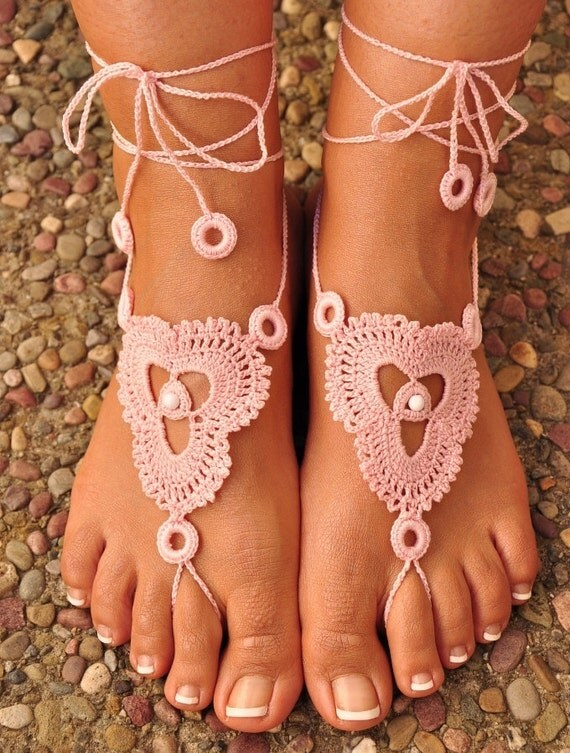 Crochet Barefoot Sandals- Great Accessory for Summer (Available in all colors)