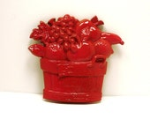 kitschy fruit wall hanging  //  retro, vintage, red home decor  //  kitchen decor, wall art, wall decor, upcycled, apples