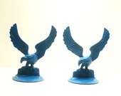 vintage eagle bookends  //  teal blue home office  //  bird home accents  //  mod, mid century, birds, den, brass