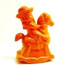 upcycled ceramic cowgirl horse figurine  //  kitschy home decor  //  orange, rocking horse, cowboy, adorable