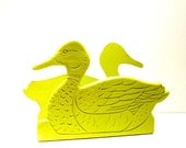 vintage duck napkin holder  //  neon chartreuse lime green accessories  //  upcycled wood accents, rustic kitchen, country, kitsch
