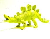 kids decor, neon dinosaur figurine  //  upcycled toys, lime green, kitsch home decor, chartreuse, pop art object