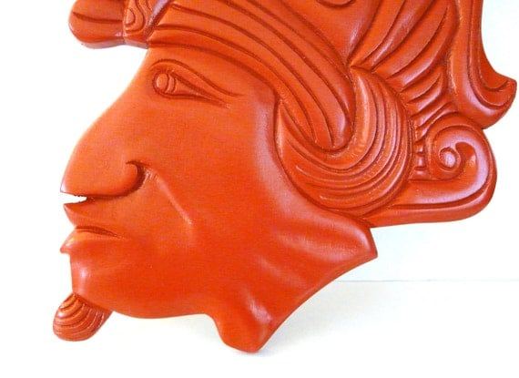 tribal head wall hanging  //  upcycled wood decor, tangerine, red orange, pumpkin  //  wood carving, natural, indian, deep color