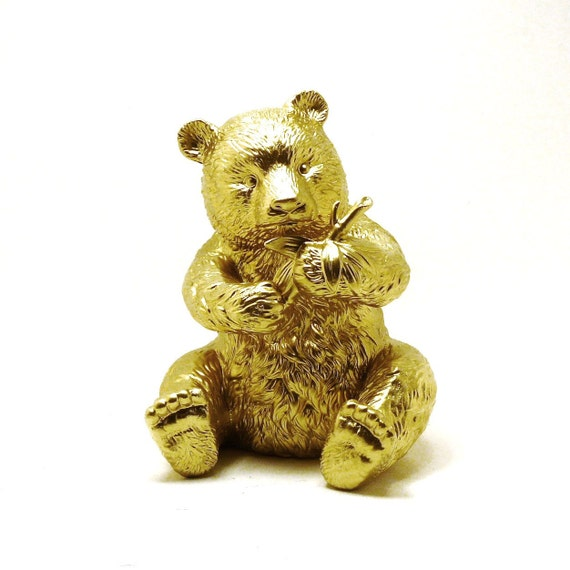 Panda bear sculpture metallic gold modern home decor by for Panda bear decor