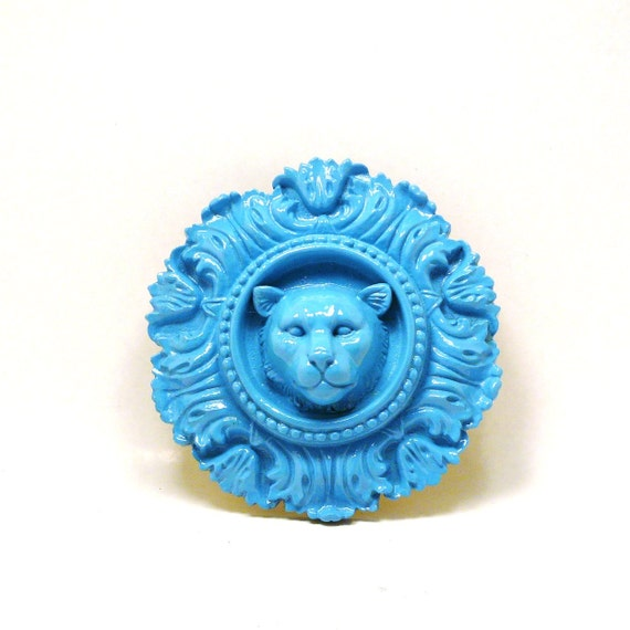 lion wall hanging  //  turquoise blue wall decor  //  upcycled home decor, lions, pop art, ornate, victorian, ceramic