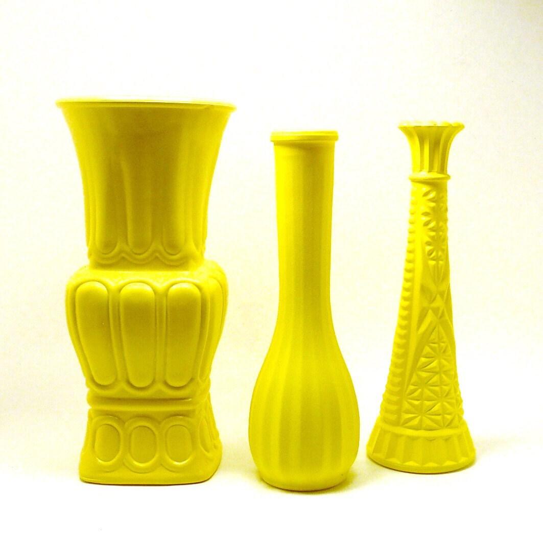 vintage yellow vases // upcycled milk glass vase by nashpop