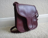 Small Burgundy Leather Pouch Bag