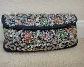 Black/Multicolored Sequins/Beaded Handbag