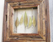 Rustic Reclaimed Salvaged Barn Wood Frame With Pressed Green Leaves Autumn Fall Leaf Brown Vintage