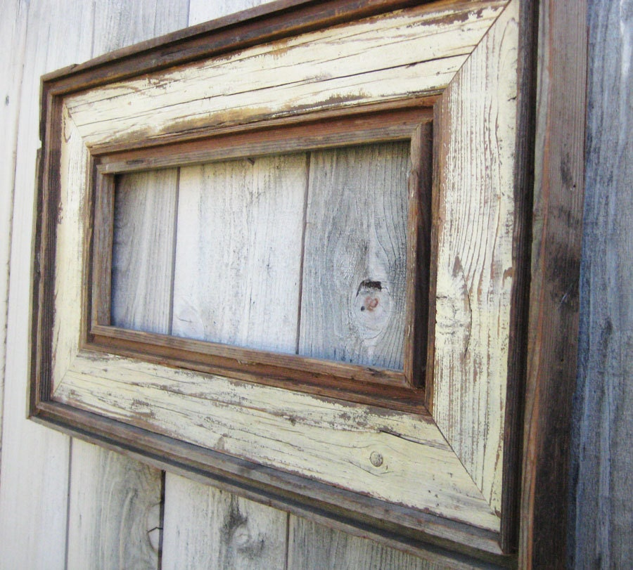 Rustic Antique Ivory Reclaimed Wood Frame. Empty Wood Frame.