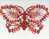 Large Crocheted  Wire Butterfly Vintage Inspired Ombre Wings matching Colored Tweeded Thorax Flexible Pineapple Design OOAK  Handmade