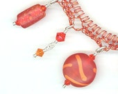 Crocheted wire Bracelet with Orange Vintage Glass Beads