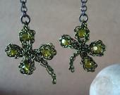 Crocheted Wire Shamrock Crystal dangle earrings Four Leaf Clovers Wearing of the Green Pinch Proof Good Luck Leprechaun Magic custom OOAK