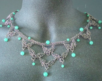 Necklace Crocheted Wire Lace  Fine Silver with Chrysoprase Semi Precious Stones Silvery Seed Pods Elm's Deep