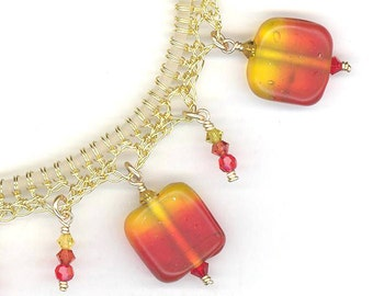 Crocheted Wire Bracelet Candy Corn Ombre Vintage Glass Beads Swarovski Crystals Artistic Wire and 14K Gold Filled Findings Modern Charm
