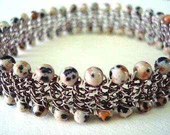 Crocheted Wire Bracelet fine silver Dalmation Jasper