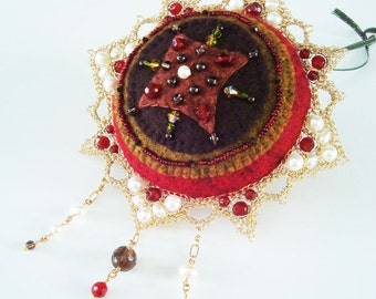 Christmas Holiday Ornament Crocheted Wire Lace Hand-stitched, layered felt Ornament double sided  Inspired by penny  rugs Renaissance Gothic