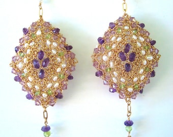 Earrings Crocheted Wire sculptural Pillow Talk Amethyst Peridot Seed Pearls hollow form construction Lightweight Renaissance Inspired OOAK