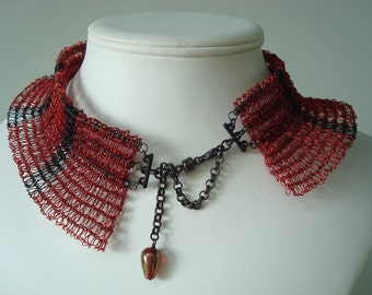 Knit Wire Necklace Sculpture Ruff Tiara Red and Black  Red Purls Black Stripes