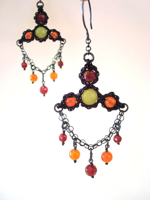 Crocheted Wire Lace jewelry set bracelet earrings Stained Glass Medieval Gothic Carnelian & Green Agate Sculptural lightweight
