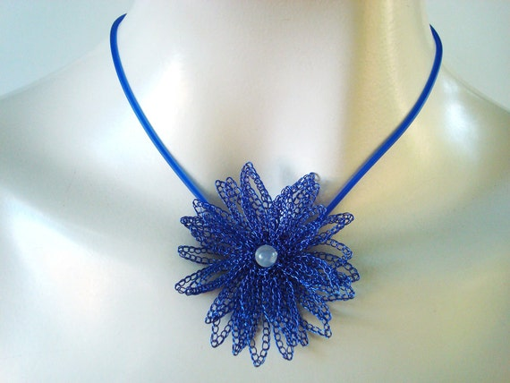 Reserved for Judy Crocheted Wire Necklace 3D Flower Layered in True Blu Artistic Wire Daisy Moonstone Center Matching Rubber Cord OOAK