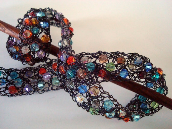 Crocheted Wire Hair Ornament Crystal Curl 3D Oxidized Copper Wire Handcrafted OOAK