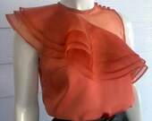 Brick Orange Satin & Organdy Blouse