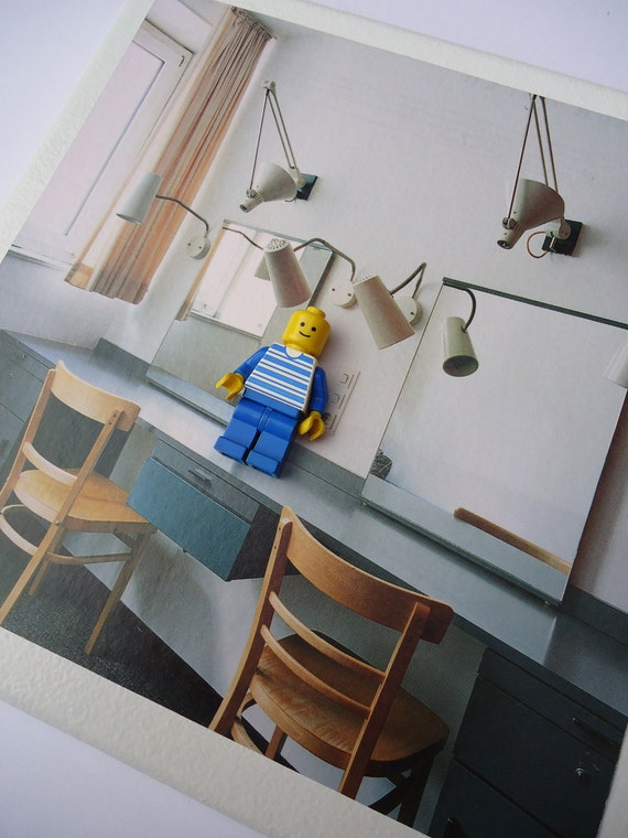 Canvas mounted toy figure assemblage - Lamps Background