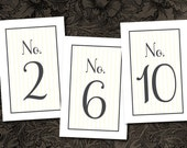 Printable Wedding Table Numbers -- Classic Stripes No. 2 Collection