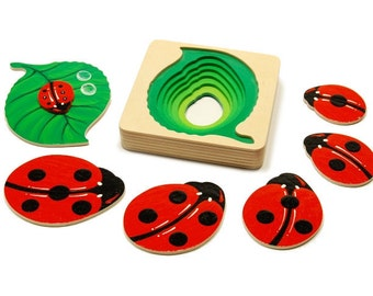 Developmental toy wooden counting puzzle pyramid for kids  -  The ladybug toy.