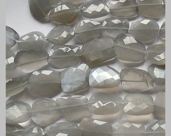 "5"" strand Cute little Silver Moonstone Faceted Flat Slab Nuggets N3359"