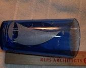 Blue cobalt glass tumbler with white sailboat design excellent shape estate item