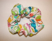 Colorful Cats Felines On White Fabric Hair Scrunchies - scrunchie has a variety of cute cats of different colors, cat, pets, pet, animal